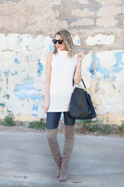white sleeveless sweater grey thigh high suede boots