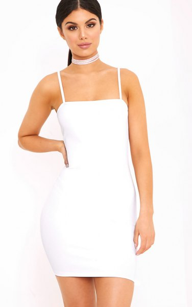 white spaghetti strap bodycon dress
