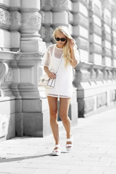 white two layered short sleeve mesh dress