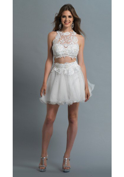 white two piece tulle dress lace halter top