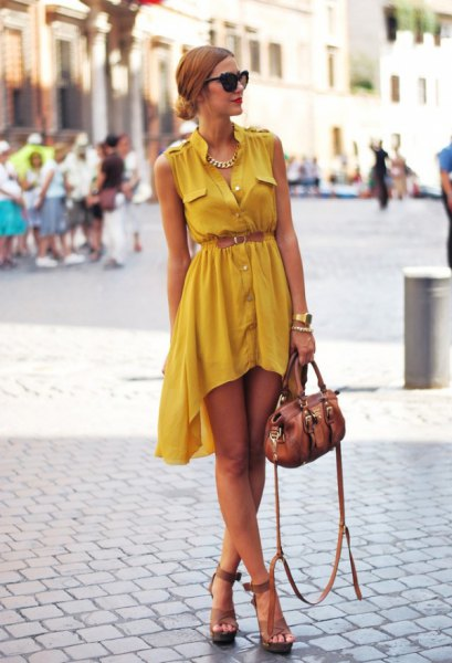 yellow button up high low dress