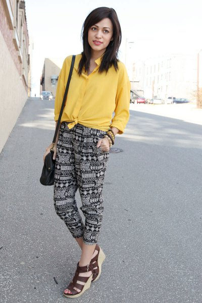 yellow knotted shirt outfit