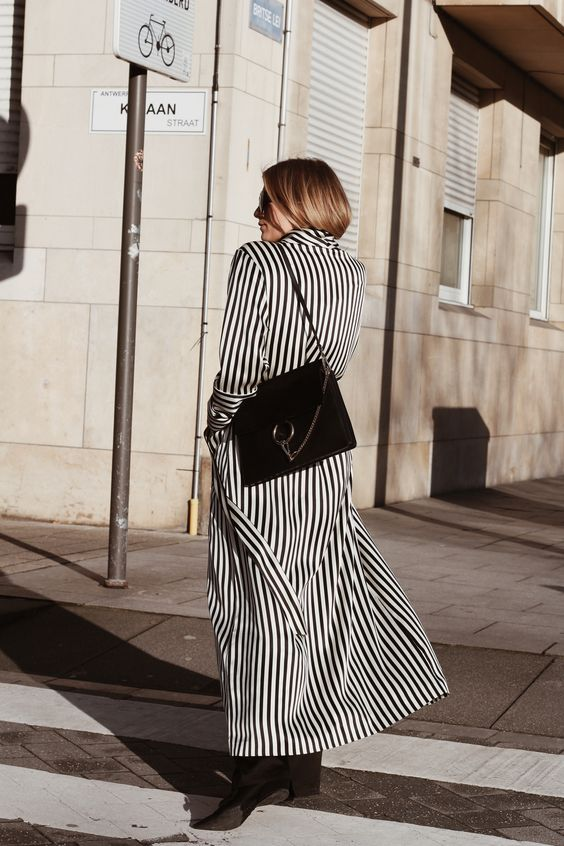 black and white striped dress coat