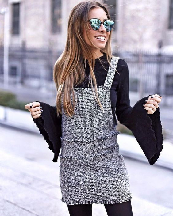 tweed dress overalls