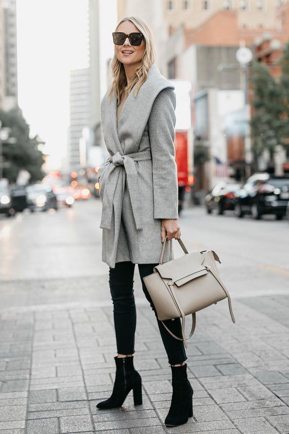 wool wrap coat grey camel mix