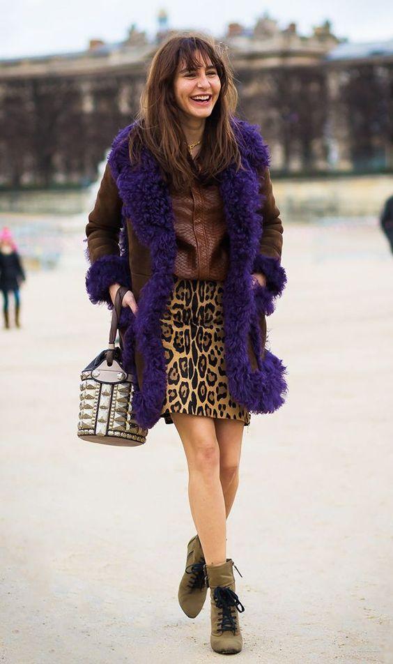 leopard print skirt shearling
