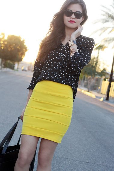 bandage skirt yellow polka dots