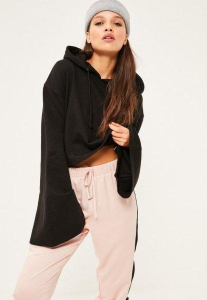 bell sleeve black hoodie white sweatpants