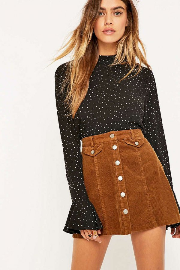 creative button up skirt outfit ideas 0