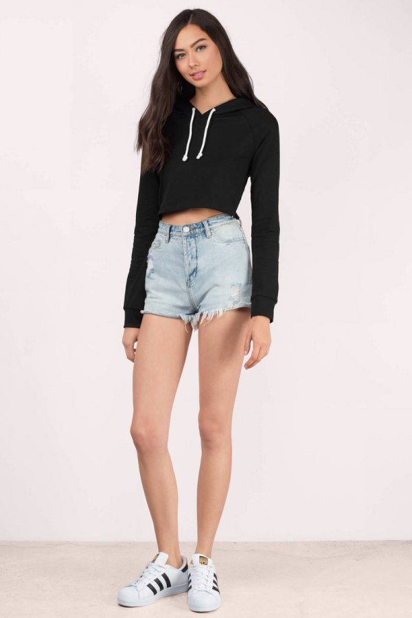 extraordinary black cropped hoodie outfit men