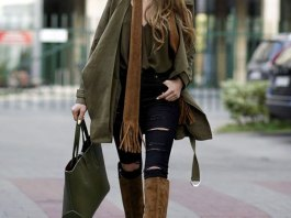 best brown knee high boots outfits