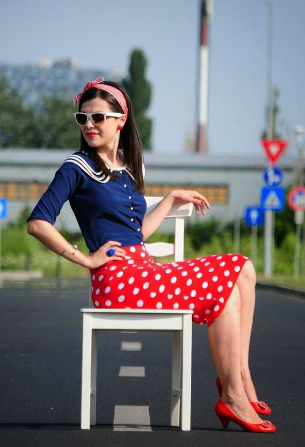 best red polka dot skirt outfit