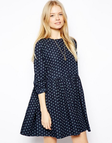 black and grey polka dot swing dress