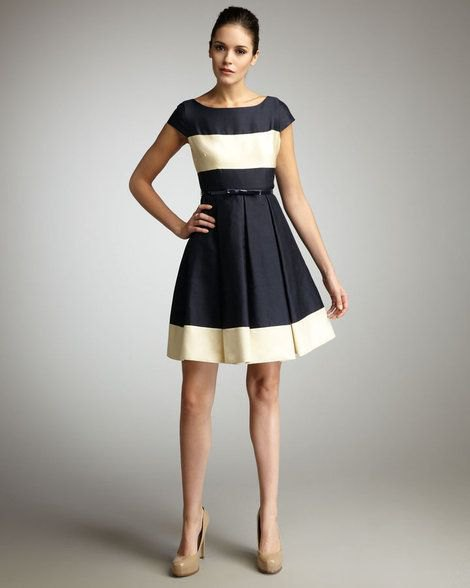 black and pale yellow color block belted flare dress