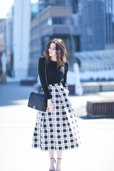 black and white flared midi skirt form fitting sweater