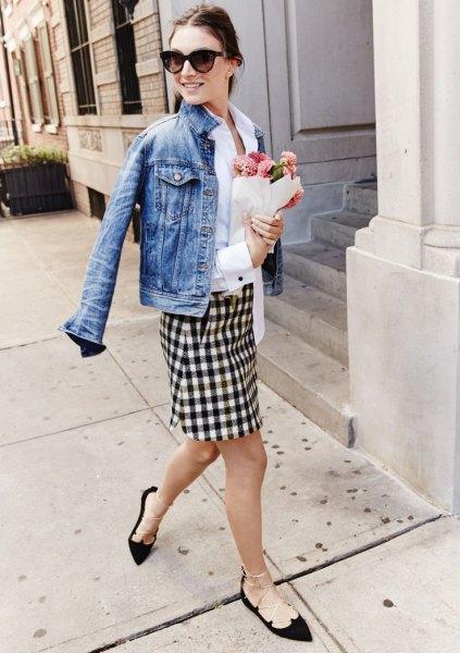 black and white plaid pencil skirt denim jacket