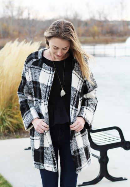 black and white plaid wool coat