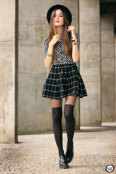 black and white polka dot top skater plaid skirt
