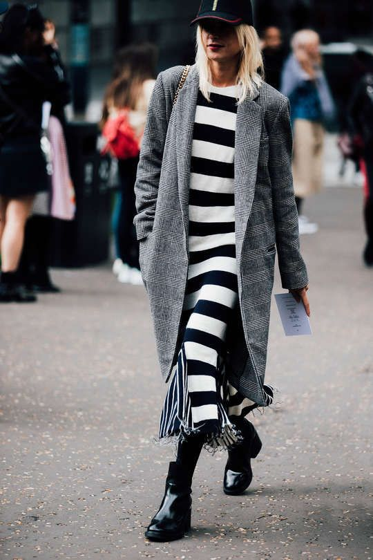 black and white striped dress plaid