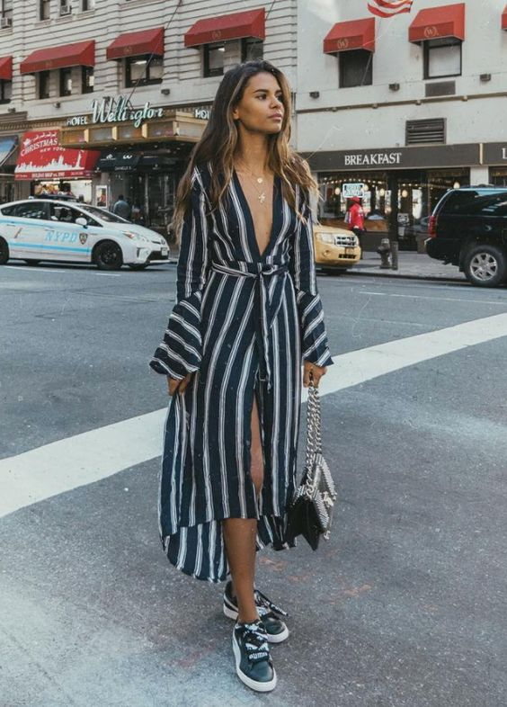 black and white striped dress robe