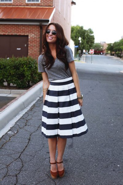 black and white striped flare midi dress grey tee