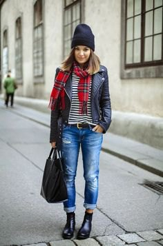 black and white striped tee plaid scarf