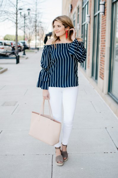 black and white vertical striped off shoulder blouse