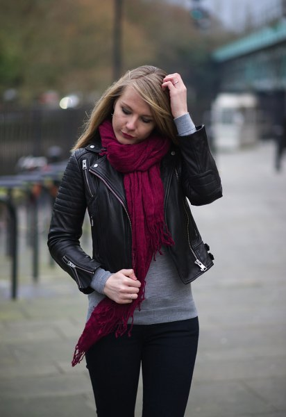black biker jacket red linen scarf