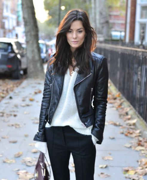 black biker jacket white chiffon shirt