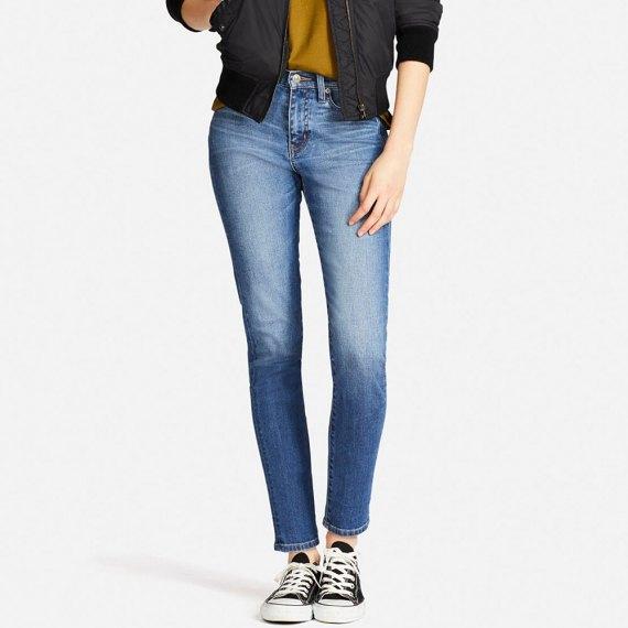 black bomber jacket blue cigarette jeans