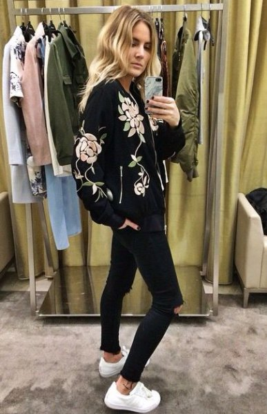 black bomber jacket rose pattern