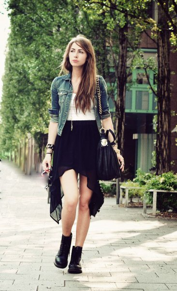 black chiffon high low skirt white top denim jacket