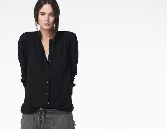black collarless boyfriend shirt grey elastic waist pants