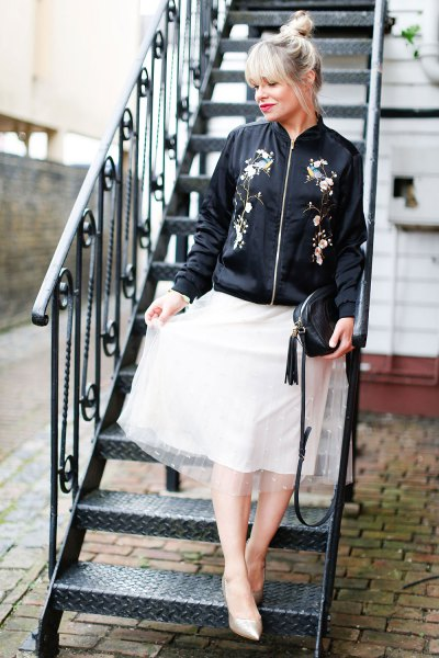 black embroidered bomber jacket white chiffon flare skirt