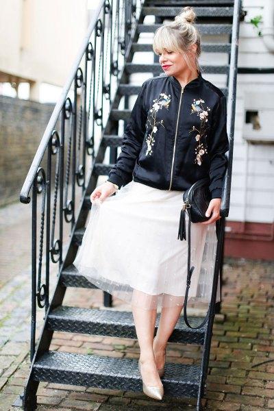 black embroidered bomber jacket white chiffon flare skirt