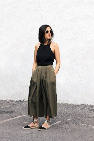 black hatler top olive green maxi flare skirt
