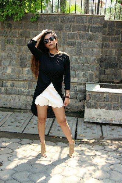 black high low top white scalloped hem mini shorts