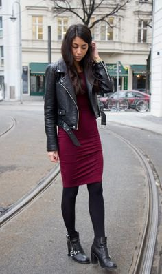 black jacket burgundy bodycon knee length dress
