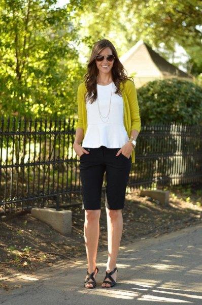 black knee length shorts white peplum top