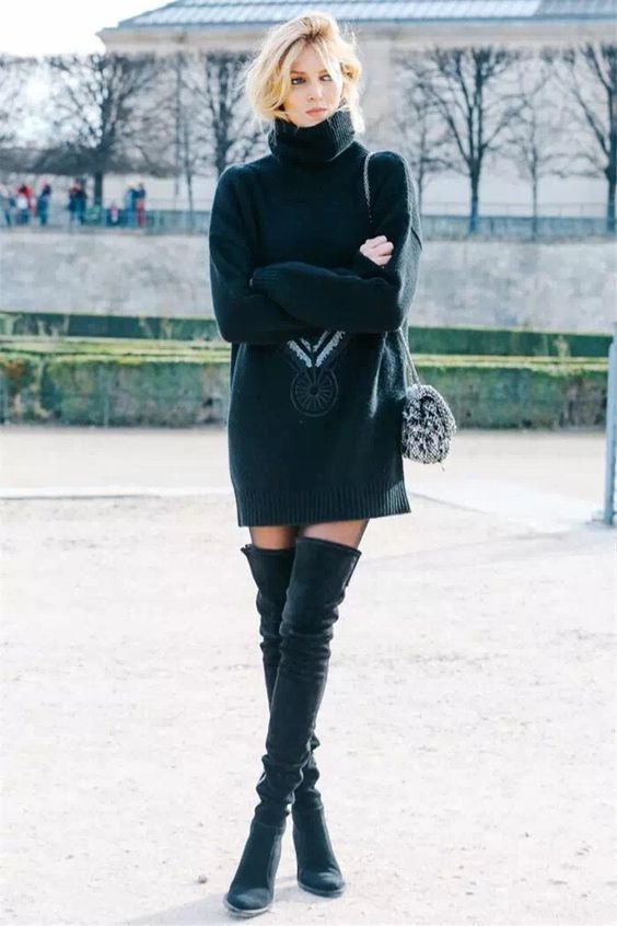 black knit dress model off duty