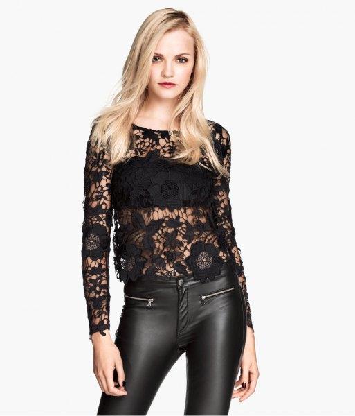 black lace top leather leggings