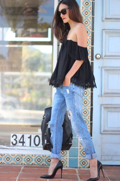 black lace top ripped boyfriend jeans