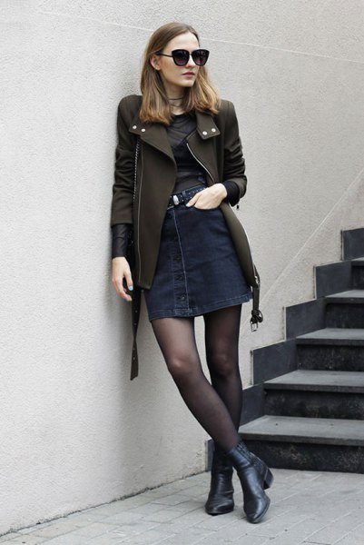black leather jacket denim button front skirt