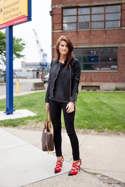 black leather jacket skinny jeans