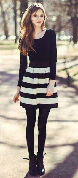 black long sleeve tee striped skater dress