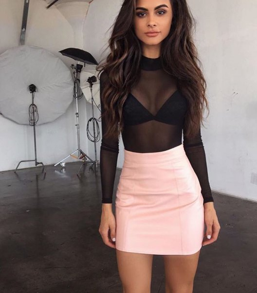 black mesh top pink leather mini skirt