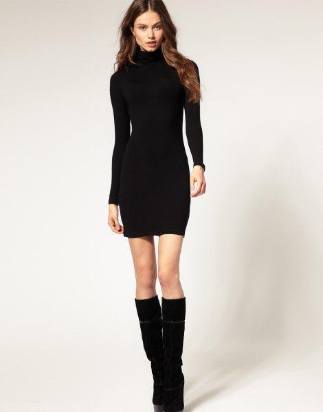 black mini bodycon dress knee high boots
