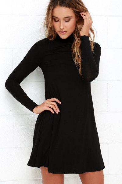 black mock neck swing dress