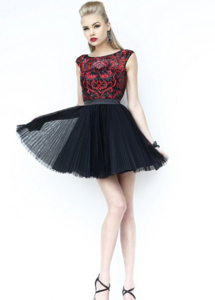 black sequin tulle skater dress