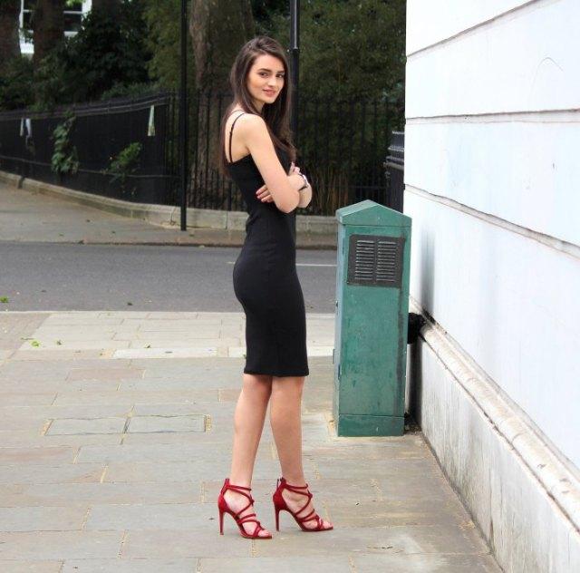 black spaghetti strap shift dress red strappy heels